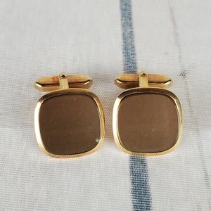 Other - Square Cuff Links Gold Brown Modern